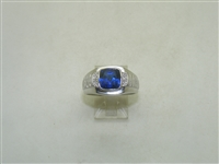 10k White Gold Man Made Blue Sapphire Diamond Ring