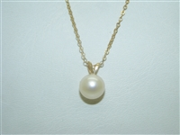 14k yellow gold Pearl Pendant with chain