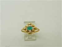 18k Yellow Gold Flower Cabochon Emerald Ring