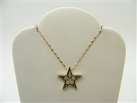 14k Yellow Gold 5 Point Diamond Star Pendant with Fancy Chain