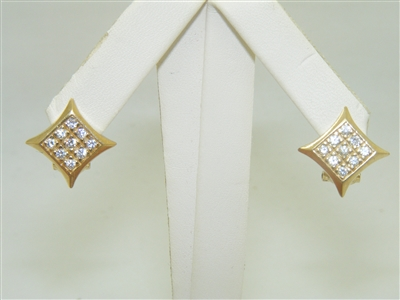 10k Yellow Gold Square Cubic Zircon Stone Earrings