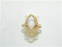 14k Yellow Gold Gorgeous Opal & Pearl Ring