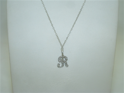 """R"" Initial 14k White Gold Diamond Necklace"