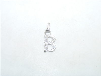 """B"" Initial White Gold Pendant"