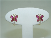 Beautiful Ruby Butterfly Lever back earrings