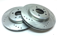 Drilled And Slotted Rotors With Silver Zinc Plating - Front Pair