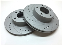 FRONT PAIR - Drilled And Slotted Rotors With Gray ZRC