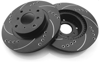 Drilled And Slotted Rotors With Silver Zinc Plating - Rear Pair