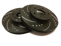 FRONT PAIR - Drilled And Slotted Rotors With Black Zinc Plating
