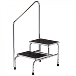 Clinton Industries Chrome Two-Step Step Stool with Handrail