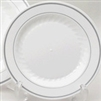 Plastic Plates - White with Silver Trim - 10.25 in / 12 ct