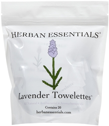 Herban Essentials Lavender Towelettes - 20 count