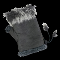Texting Gloves Faux Fur Gray
