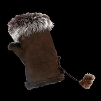 Texting Gloves Faux Fur Chocolate