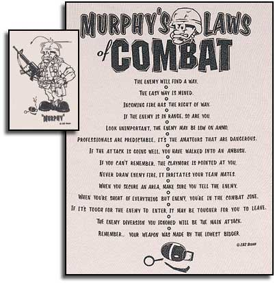 murphys laws of combat In a few short weeks the nation's military academies will graduate about 4,000 new officers into the commissioned ranks of our armed forces they will join an ancient and honored fraternity, one.