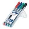 Staedtler Lumocolor Alcohol Map Markers- Fine Point, 4 Colors- Black,Blue, Green, Red
