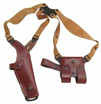 Vega  Vertical Carry Military Leather Shoulder Holster & Double Magazine Pouch