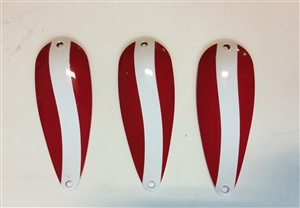 3 Pack of Red/White Nickel back  5/8 oz Spoons