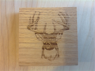 Corner trim blocks buck deer, made from oak