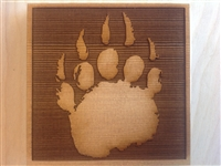 Corner trim blocks bear print, made from cedar