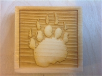 Corner trim blocks bear print, made from pine