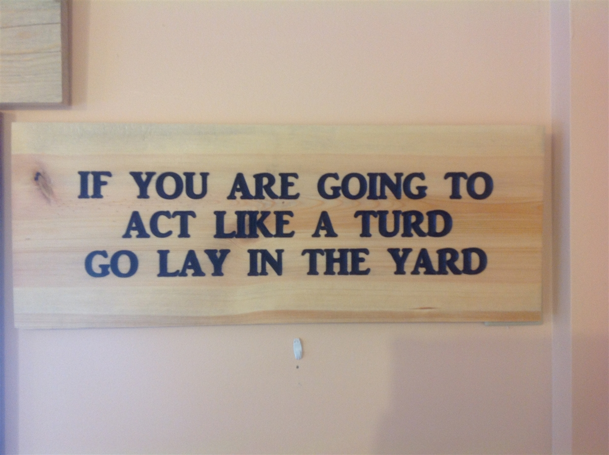 carved sign  if you are going to act like a turd go lay in the yard  survivors will be shot