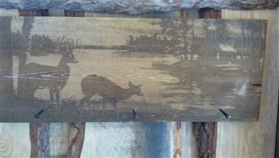 Laser engraved Coat hook with deer & cabin scene
