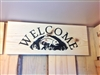 Carved Wooden Welcome sign with Trout
