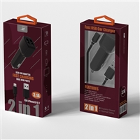 2 In 1 Fast Car Charger For iPhone 5/6/7 Black (New)
