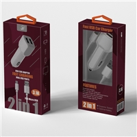 2 In 1 Fast Car Charger For Micro USB White (New)