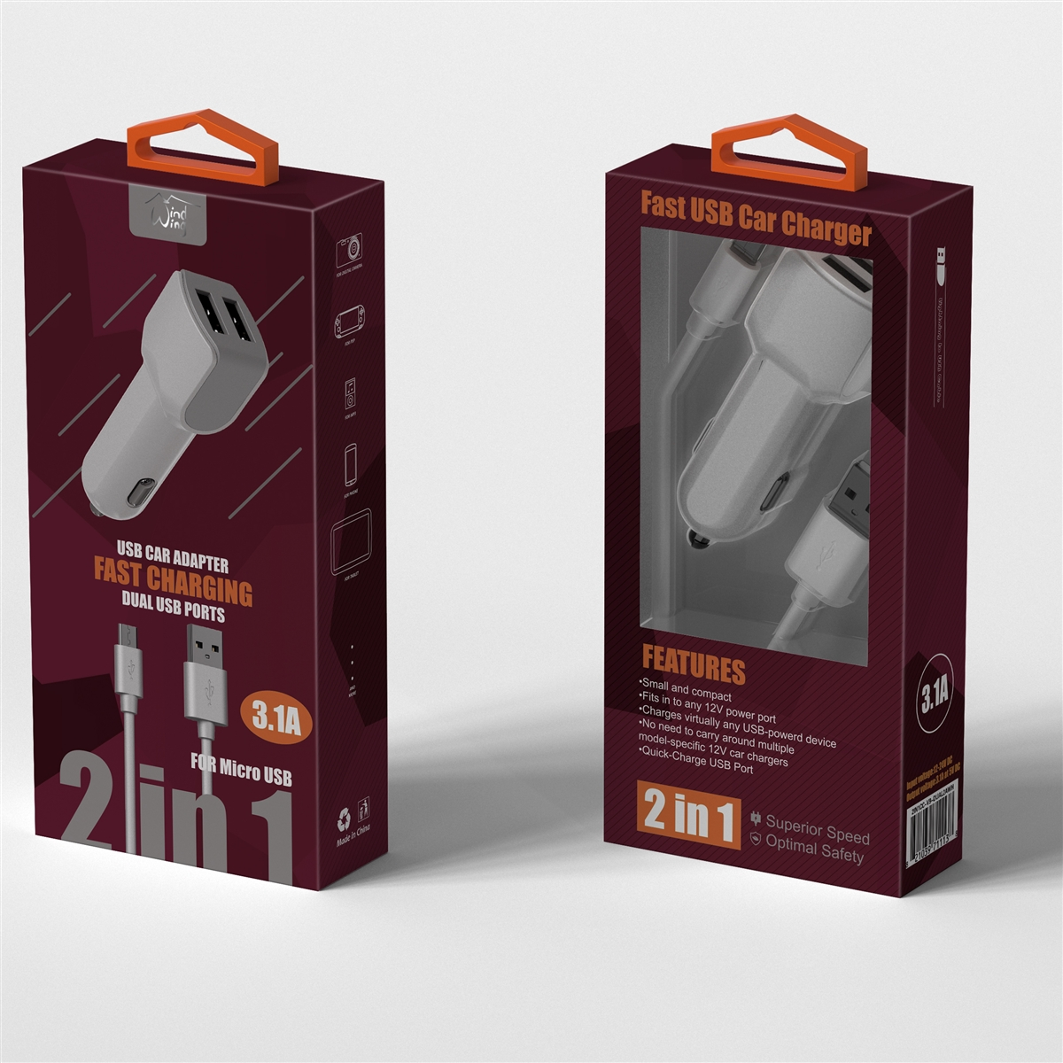 2 In 1 Fast Car Charger For Micro Usb White New Large Ampamp Port