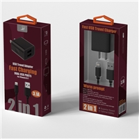 2 In 1 Fast Home Charger For Micro USB Black (New)