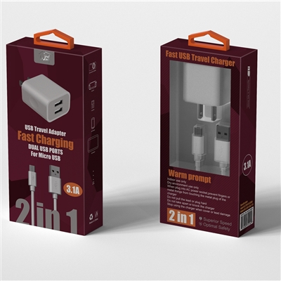 2 In 1 Fast Home Charger For Micro USB White (New)