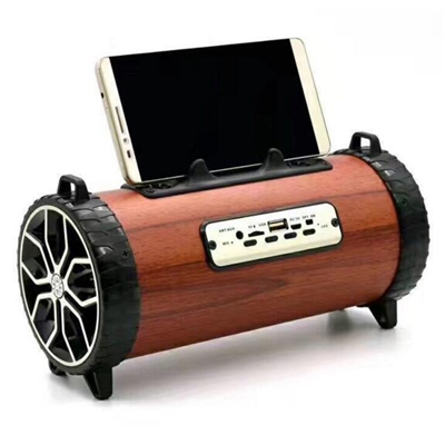 Portable Rechargeable 10W Bluetooth Speaker with FM Radio,TF slot, AUX in, USB, Handsfree, built-in Boom Woofer in Brown