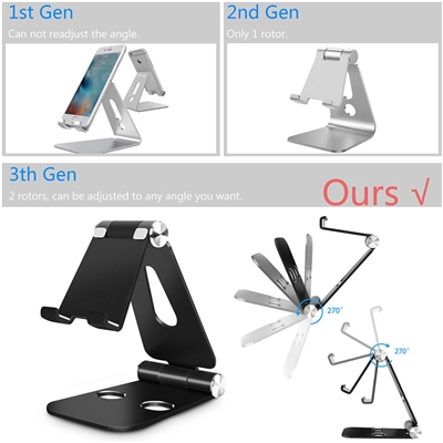 Universal Foldable Aluminum Desk Stand iPhone iPad Adjustable Holder-Black