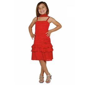 Pleated Red Party Dress