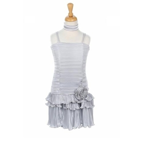 Silver Pleated Special Occasion Dress