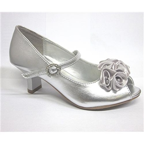Silver Flower Girls Dress Shoes