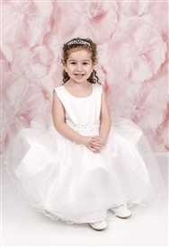 Paige Satin & Tulle Baby Dress: WHITE