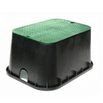 "NDS - 117BC - Standard 13"" x 20"" x 12"" Valve Box, with Overlapping Lid, Black Body & Green Lid"