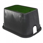 "NDS - D1000-SG - 10"" x 15"" Valve Box, with Drop-In Lid, Black Body & Green Lid"