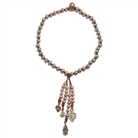 Fine Pearls and Leather Jewelry by Designer Wendy Mignot Spirit Charm Necklace, Limited Edition