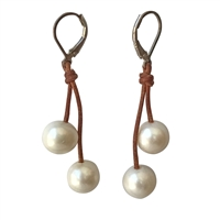 Fine Pearls and Leather Jewelry by Designer Wendy Mignot Cherries Freshwater Earrings White