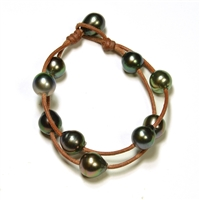 Fine Pearls and Leather Jewelry by Designer Wendy Mignot Music Two Strand Tahitian Bracelet