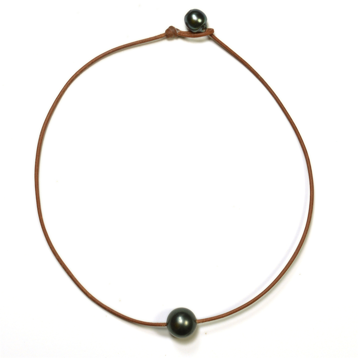 Fine Pearls And Leather Jewelry By Designer Wendy Mignot Bora Bora Single  Tahitian Necklace