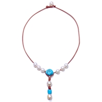 Fine Pearls and Leather Jewelry by Designer Wendy Mignot Watercolor Freshwater Necklace, Turquoise
