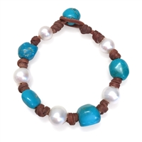 Fine Pearls and Leather Jewelry by Designer Wendy Mignot All Around Freshwater, Turquoise Bracelet LTD