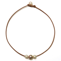 Fine Pearls and Leather Jewelry by Designer Wendy Mignot Aruba Freshwater Necklace