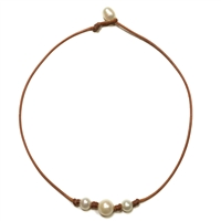 Fine Pearls and Leather Jewelry by Designer Wendy Mignot Daisy Three Freshwater Necklace White with Knots