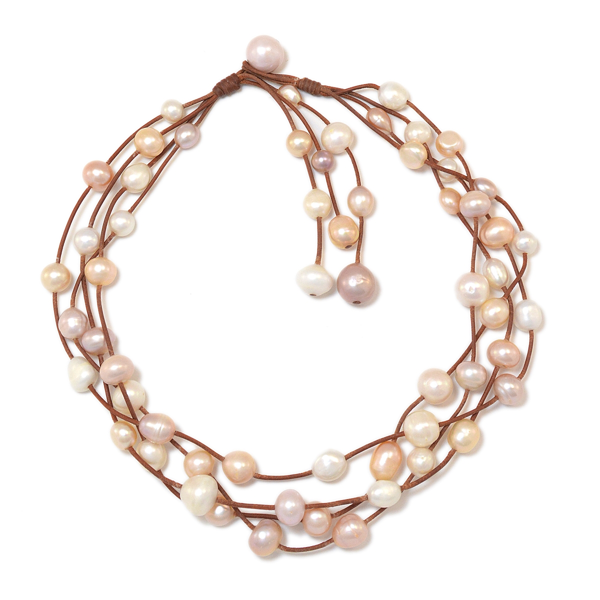 Fine Pearls And Leather Jewelry By Designer Wendy Mignot Music Four Strand  Freshwater Necklace Multicolor